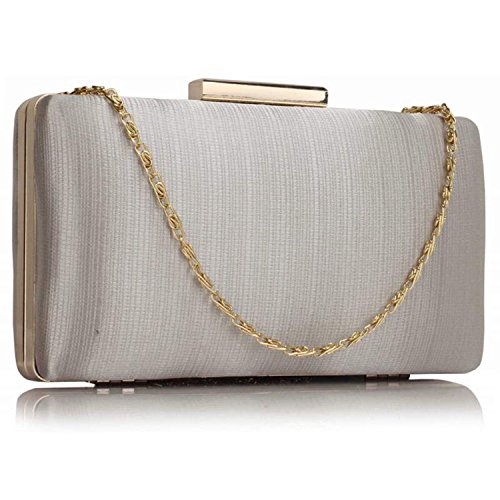 Xardi London clutch rigida da donna, compatta, in raso, misura media, adatta per spose, balli, serate. Silver Plain Satin