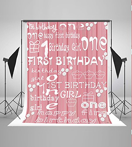 6.5ft(h)x5ft(w) Baby First Birthday Pink Cute Photography Backdrops no Crease Studio Background for Cake (Cute Halloween Cakes Birthday)