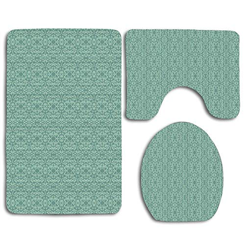 (EnmindonglJHO Green Vintage Style Victorian Garden Pattern Antique Design Old Fashion Ornaments Hooks Turquoise Seafoam 3pcs Set Rugs Skidproof Toilet Seat Cover Bath Mat Lid Cover Cushions Pads)