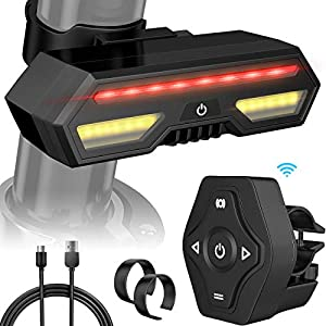 MojiDecor Fanale Posteriore per Bicicletta Impermeabile USB Ricaricabile Luce Posteriore Bici con LED Indicatore di Direzione 3 Modalità d'Illuminazione Lampada per Mountain Bike Bicicletta 1 spesavip