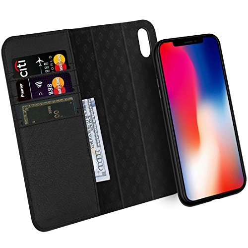 se Detachable Genuine Leather Wallet Case Support Wireless Charging Magnetic Car Mount Holder Kickstand Feature Magnetic Closure Gift Box Black ()