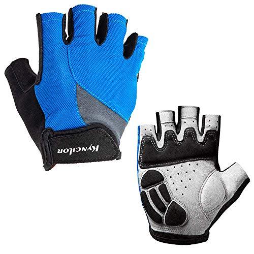 Conthfut Cycling Gloves with Anti-Slip Shock-Absorbing Pad Half Finger, Blue, - Anti Slip Half Pad