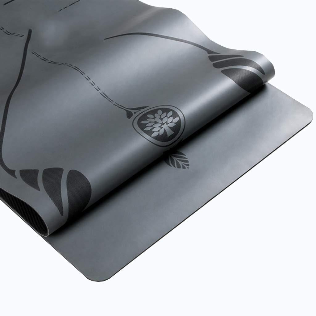 天然ゴム大パッド付きヨガマットキャリーハンドルとピラティス、非スリップ非毒性高品質スポーツマットセット183X68CM (色 : 黒) B07NPNPQW3  黒