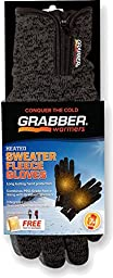GRABBER GBGGLXL 2 Pack 7+ Hour Heated Sweater Fleece Large/Extra Large Glove, Gray