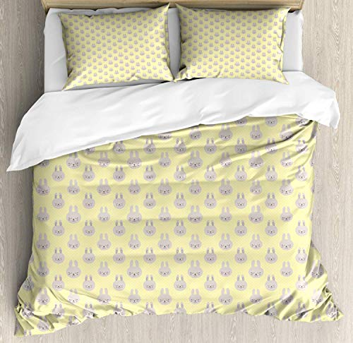 Yellow Polka Dot Duvet Cover Set Queen Size,Cute Bunny Faces On A Pastel Minimal Rounds,Duvet Comforter Cover Set Luxury Soft Twin Duvet Cover Set,Pale Yellow Pale Tan Charcoal Grey Blush ()