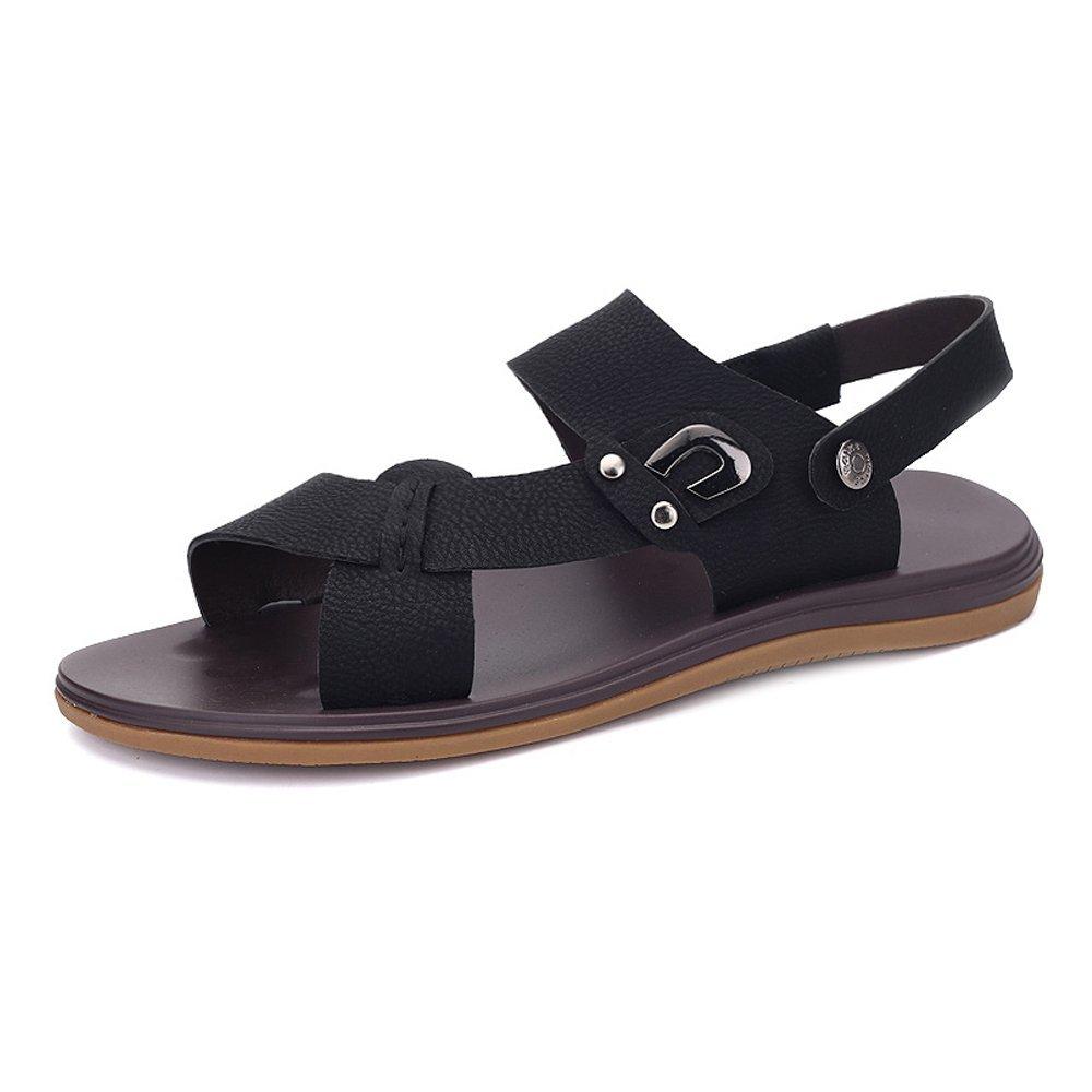 Zapatillas de Playa de Cuero PU de los Hombres Zapatillas de Deporte Sandalias Antideslizantes Ajustables sin Respaldo 39 EU Negro