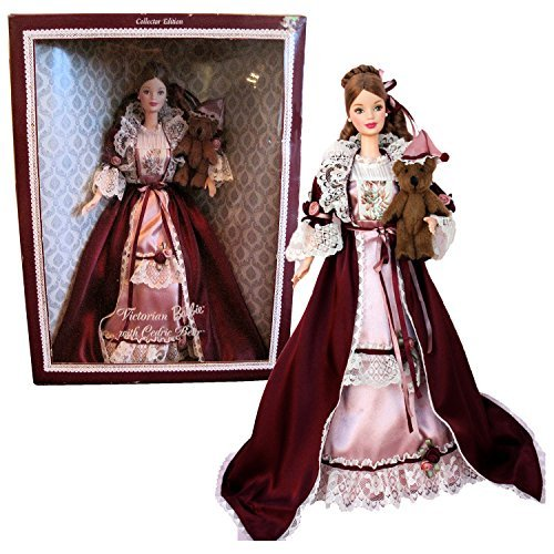 - Mattel Year 1999 Barbie Collector Edition 12 Inch Doll Set - VICTORIAN BARBIE with Cedric Bear, Nightdress, Dressing Gown, Ring, Earrings, Mules, Doll Stand and Certificate of Authenticity