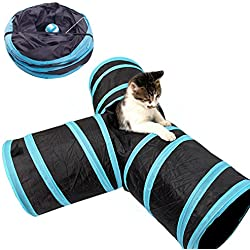 Geartist PCT01 Pet Cat Tunnel Maze Toy, 3 Way Collapsible Crinkle Cat Tunnel Tent House Cat Agility Training Open Tunnel Pet Play Tubes Toy For Cat Puppy Kittens And Rabbits Entertainment (black)