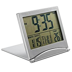 Foldable Digital Alarm Clock Desktop Tabletop Calendar Temperature Travel Clock for Bedroom