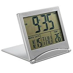 MXXGMYJ Foldable Digital Alarm Clock Desktop Tabletop Calendar Temperature Travel Clock for Bedroom