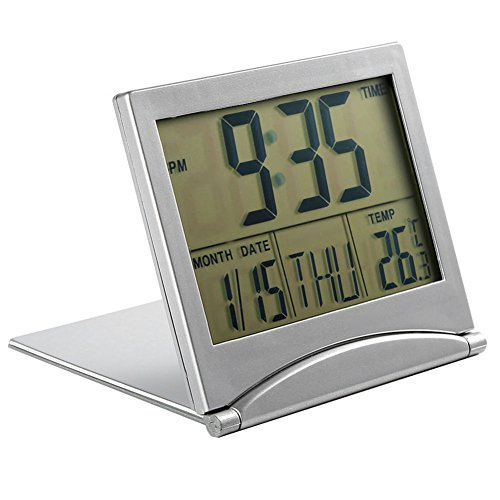 MXXGMYJ Foldable Digital Alarm Clock Desktop Tabletop Calendar Temperature Travel Clock Bedroom