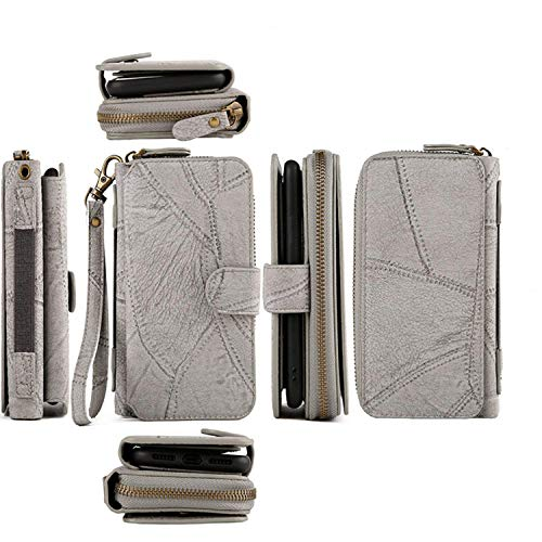 Galaxy S10 Wallet Case,Spritech Luxury Detachable Magnetic Zipper Wallet Case Clutch Purse 11 Card Slots Mirror Hand Strap for Samsung Galaxy S10