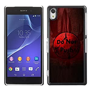 GagaDesign Phone Accessories: Hard Case Cover for Sony Xperia Z2 - Do Not Push Button
