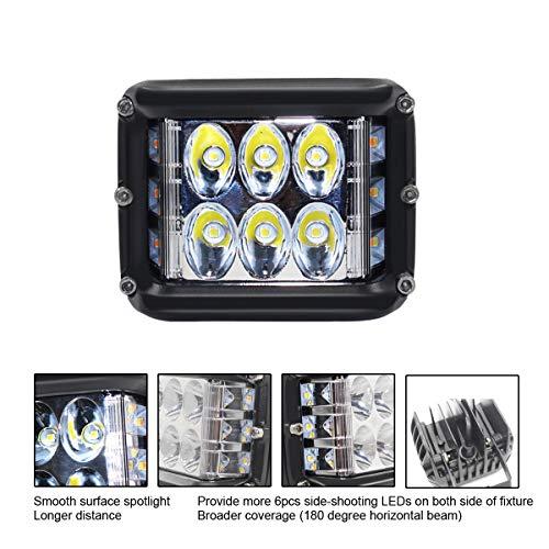 JAYE 4-Pulgadas 45W de Tres Lados Intermitente LED Trabajo Barra de luz 6000K proyector o proyector 4500LM IP67 Impermeable...