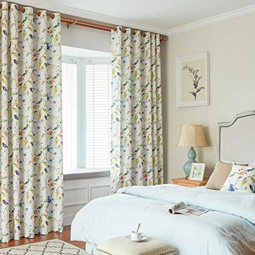 VOGOL Birds and Floral Printed Curtains Blue Blackout Window Treatment
