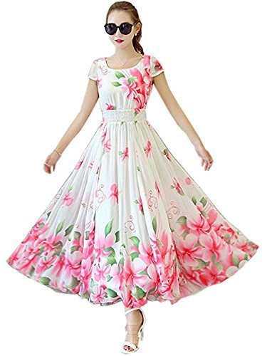 3fd3b910e5b8 Dresses For Women Great Summer Offer On Latest Regular   Party Wear Digital  Printed Dress Material Crape Fabric In Blue Color free Size (white)   Amazon.in  ...