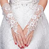 Elegant Lady Formal Banquet Party Bride Pierced Lace Wedding Gloves Bridal Gloves, NO.28