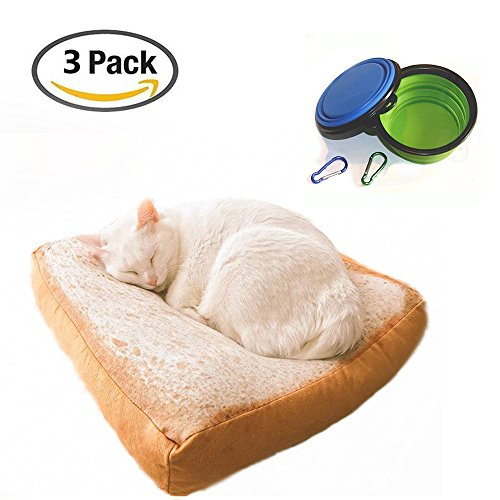 S-Lifeeling Pet Bed Soft Quilted Cat Cushion Mat Simulated Creative Toast Cat Bed for Cute Animal Catty and Doggy Sleeping Playing Resting