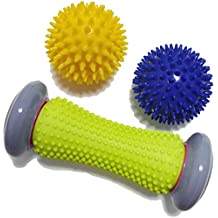 Ryson Foot Roller Massage Ball for Relief Plantar Fasciitis and Reflexology Massager for Deep Tissue Acupresssure Recovery for PLA Relax Foot Back Leg Hand Tight Muscle, 1 roller and 2 Spiky Balls