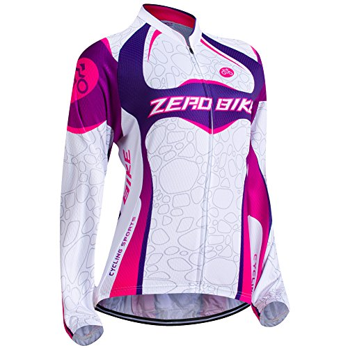 ZEROBIKE Women's Long Sleeve Cycling Outdoor Sports Jersey Polyester Full Zip (Thermal Full Zip Jersey)