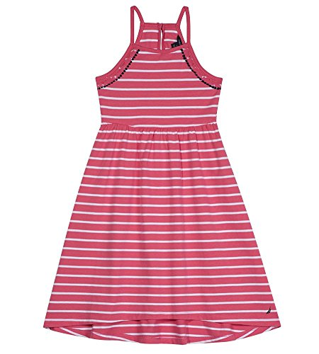 Nautica Girls' Little Spaghetti Strap Fashion Dress, lace Stripe Dark Pink, 6X