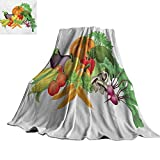 Angoueleven Harvest,Blankets Cartoon Drawing Style Fall Harvest Yield Fresh and Tasty Vegetables Bell Peppers Plush Microfiber Blanket 70'x50'