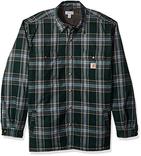 Carhartt Men's Big and Tall Hubbard Sherpa Lined Shirt Jacket, Canopy Green, 3X-Large