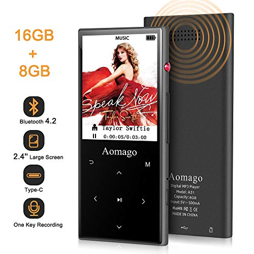 "16GB MP3 Player with Bluetooth 4.2, Aomago Music Player with Speaker, HiFi Lossless Sound Digital Audio Player with FM Radio,Voice Recorder,2.4"" Metal Touch Button,Support up to128G(TF Card Included)"