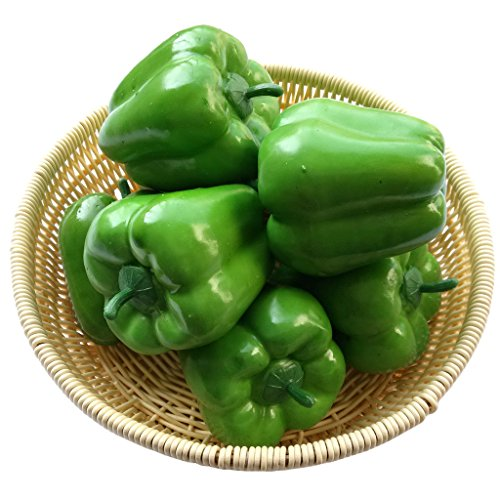 Gresorth 8pcs Artificial Big Bell Green Pepper Decoration Fake Vegetable Home Kitchen Cabinet Food Toy Model