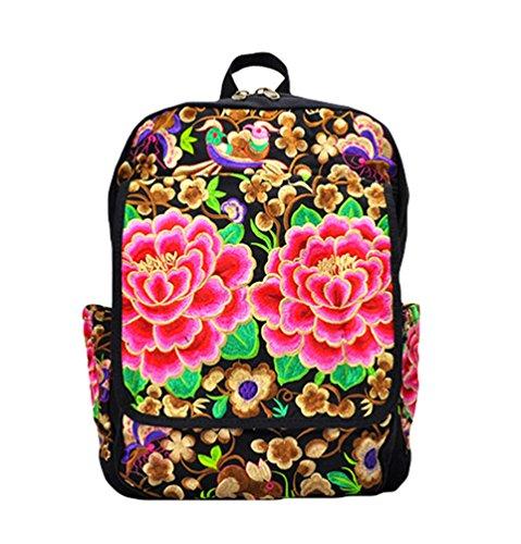 YAANCUN Mochila Bordado Floral Bolsa de Lona Escolar Bolsa Mochila Del Estudiante Backpack Deporte Mochila Bolsa de Viaje Comme l'image#2