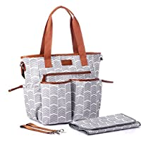 Diaper Bag, With Baby Changing Pad For Stylish Moms,Baby Multi-Purpose Diaper...