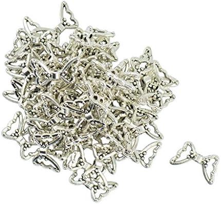 スペーサー ビーズ 蝶の形 手作用 亜鉛合金 ビーズ 50個 素材 手芸 DIY シルバー