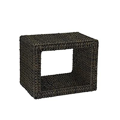 Household Essentials Indoor Outdoor Wicker End Table, Espresso - Indoor/Outdoor resin wicker end table with rectangular, open contemporary design Hand-woven banana leaf resin wicker with a metal frame Comes fully assembled and ready for use - patio-tables, patio-furniture, patio - 51kBRy9Z9sL. SS400  -