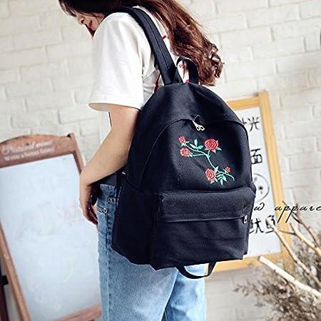Doitsa 1 x Bolsa Mochila de Lona College Lycée Escolar Viajes Simple Loisirs Niña Mujer Mochila Backpack School, Diseño de Rosa (Negro C): Amazon.es: ...