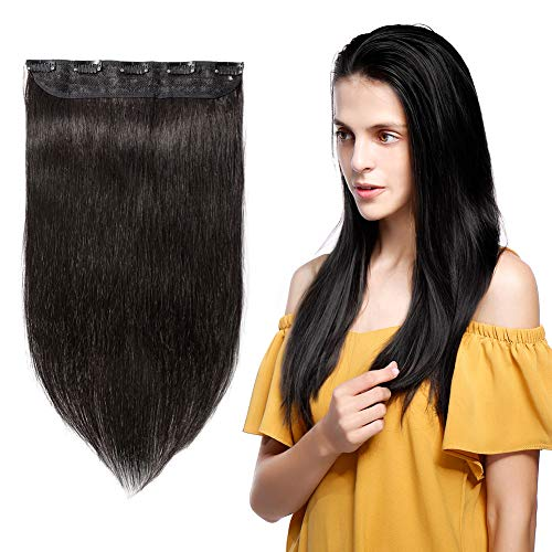 100% Remy Clip in Human Hair Extensions 16-22inch Natural Hair Grade 7A Quality 3/4 Full Head 1 Piece 5 Clips Long Thick Soft Silky Straight for Women Beauty 16
