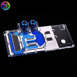 GPU VGA RBW LED Full-Cover Water Cooling Block Compatible/Replacement for XFX RX 580 480 470