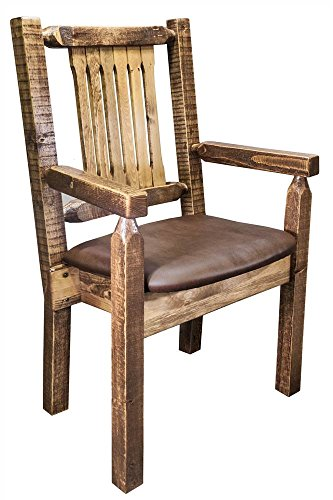 (Montana Woodworks MWHCCASCNSLSADD Homestead Collection Captain's Chair, Stain & Clear Lacquer Finish with Upholstered Seat, Saddle Pattern)