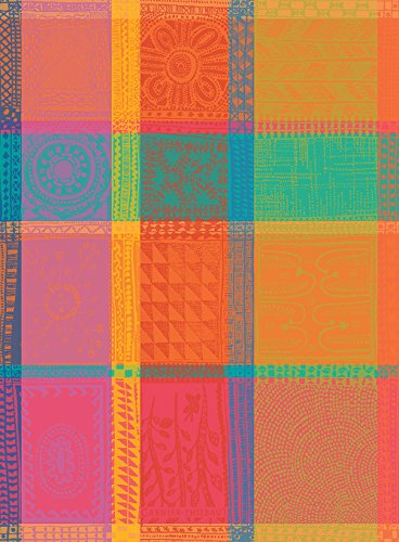 Garnier Thiebaut, Mille Wax, Creole, French Jacquard Kitchen Towel, 100 Percent Cotton, 22 Inches x 30 Inches