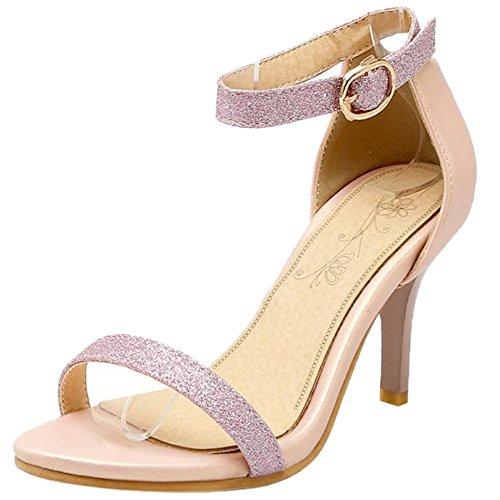 Sandales Mode Chaussures Talons Aiguille Hauts Ouvert TAOFFEN Bout Rose Femmes UFwxvqUa