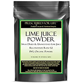 Lime Juice Powder - Spray Dried & Unsweetened Lime Juice - Reconstitute Ratio 1:2 - ING: Organic Powder, 12 oz 5 100% Natural Lime Juice with Lime Oils Great source of Anti-Oxidants Helps improve immune and blood system function