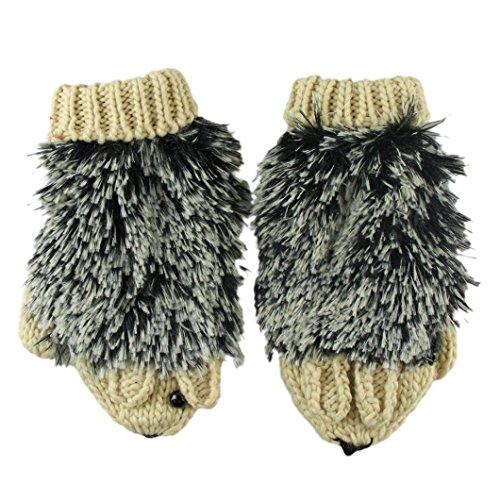 DZT1968(TM) Women Ladies Warm Ladies Double-Deck Mittens Knitted Hedgehog Gloves (Khaki)