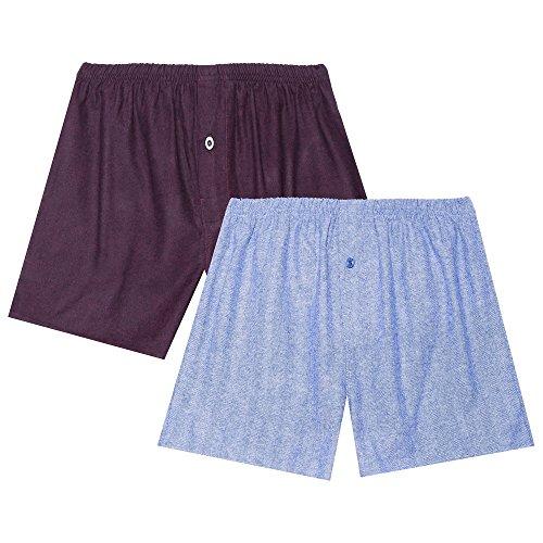 Blue Flannel Boxer - Noble Mount Men's Flannel Boxers - 2 Pack - Herringbone Blue/Fig-Black - X-Large