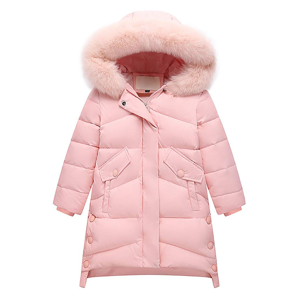 Lanhui Children's Long Plush Thick Large Fur Collar Big Girl's Coat Solid Color Warm Cotton Cothing Winter Fashion by Lanhui