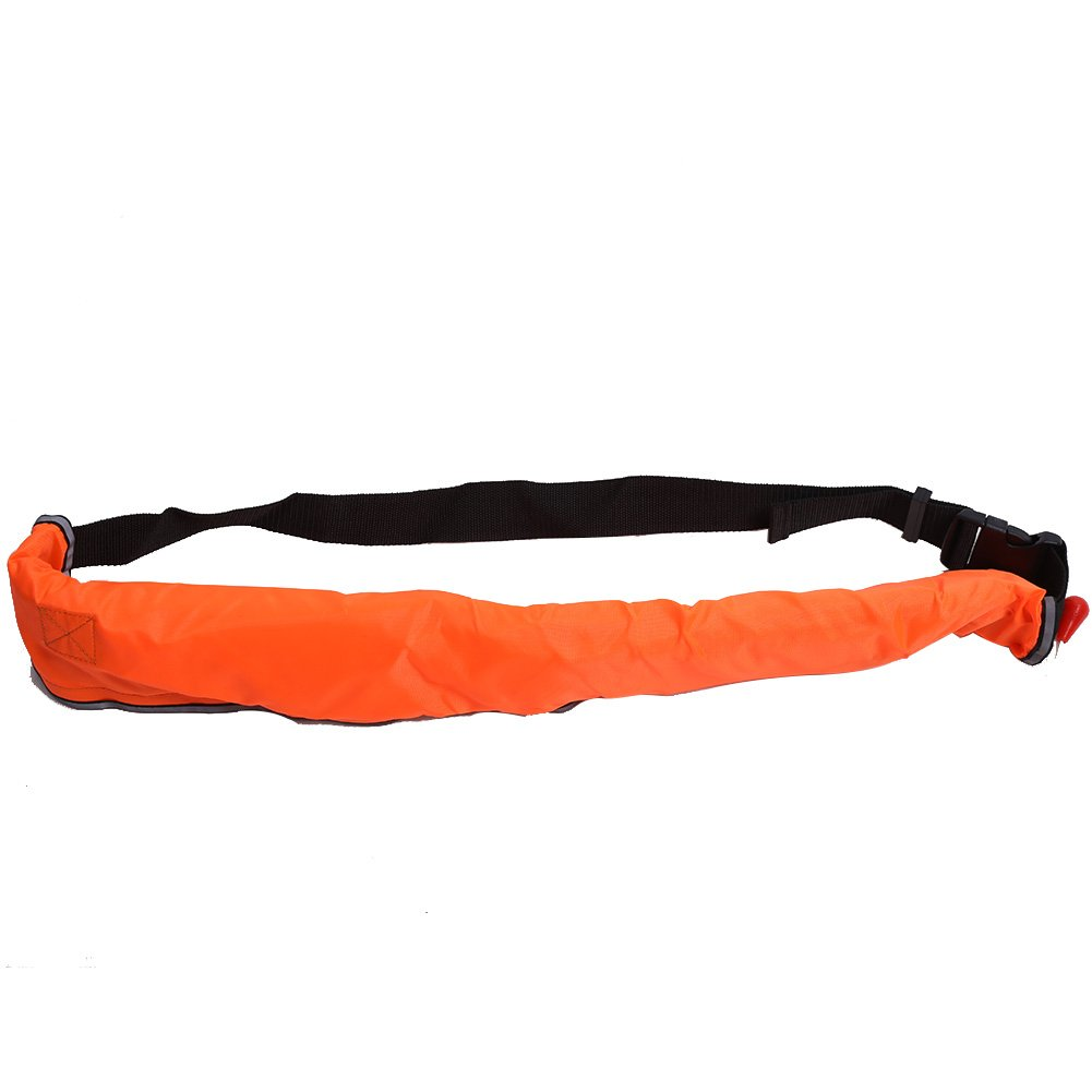 t-bestインフレータブルベルトパック、ポータブルライフジャケットウエストベルトライフベストライフリングベルトウエストバッグ用スタンドUpパドルボード、カヤック、釣り  オレンジ B07CSSK71D