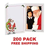 EVENTPRINTERS - Santa Claus 4x6 Photo Folder - Pack of 200 FOLDERS (Slide-in Insert Type). These Beautiful Holiday Photo folders are Great for Christmas Parties and Santa Portraits! (200 Pack)