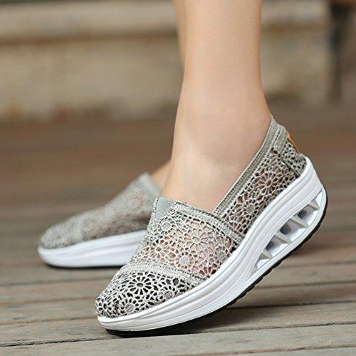 Mocassini out Sneakers Grigio Fitness Casual Pizzo Scarpe di Scuro Zeppa Dimagranti Donna con Sports con Shoes Hollow Running Piattaforma Plateau LINNUO 7Y6wBqq