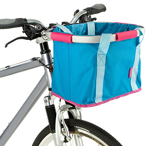 Schwinn Folding Handlebar Bag, Blue/Pink