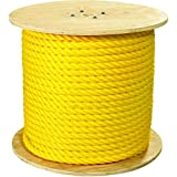 Ship Now Supply SNTWR111 Twisted Polypropylene Rope, 1'', 12, 800 lb, 600', 1'' width, Yellow