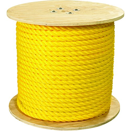 Ship Now Supply SNTWR111 Twisted Polypropylene Rope, 1'', 12, 800 lb, 600', 1'' width, Yellow by Ship Now Supply
