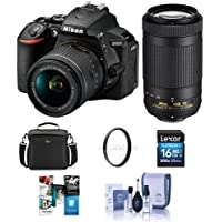 Nikon D5600 DSLR Camera Kit w/AFP DX 18-55mm f/3.5-5.6G VR & AFP DX 70-300/4.5-6.3G Lenses - Bundle With camera Case, 16GB SDHC Card, Cleaning Kit, 55mm UV Filter, Software Package,